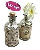 2er Set Glasflasche Antik Dream & Memories H:13 cm - als Vasen Set, Tischdeko etc.