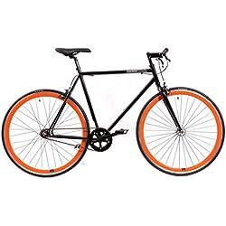 KHE Fixie bicicleta de una velocidadd FX0156,5cm negra, incluye piñón de rueda libre 40mm llantas naranja