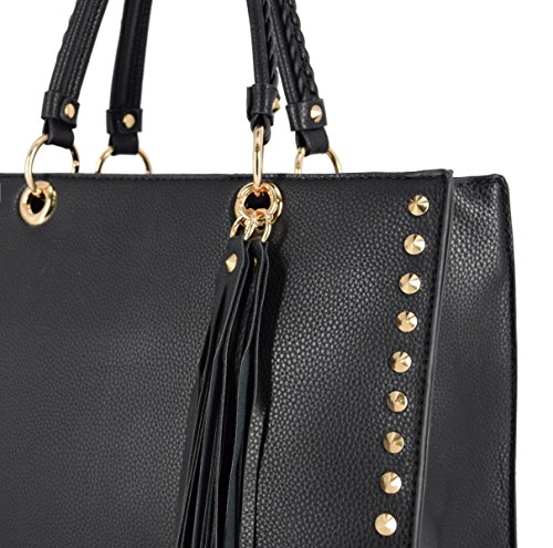 743d88dabf0e4 ... CRAZYCHIC - Damen Tote Handtasche mit Gold Nieten - Elegant  Henkeltasche Shopper Schultertasche für Frau Student