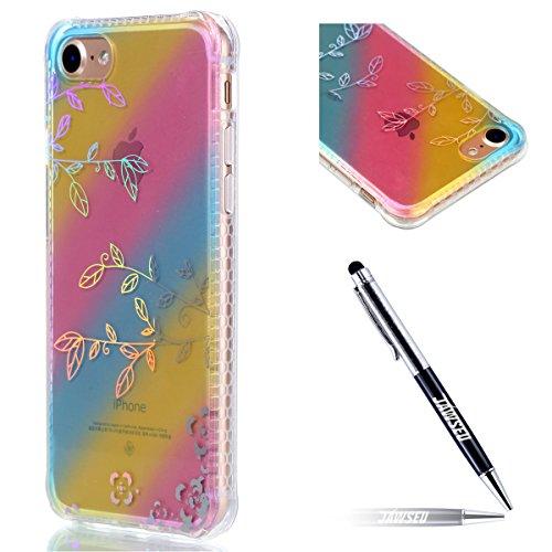 iPhone 7 Coque Transparent Tpu,iPhone 7 Étui en Silicone Mince avec Motif,JAWSEU [Double Face]Luxe Coloré Placage Cristal Clair Souple Gel Housse Etui de Protection,Bling Sparkle Case CLear Silicone T branches