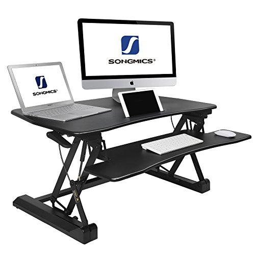 Sitz-stehtisch (SONGMICS Sitz-Steh-Schreibtisch höhenverstellbarer Aufsatz Steharbeitsplatz Monitorständer mit abnehmbarem Tastaturhalter, geräumige Tischplatte (90 x 59 cm) schwarz LSD07B)