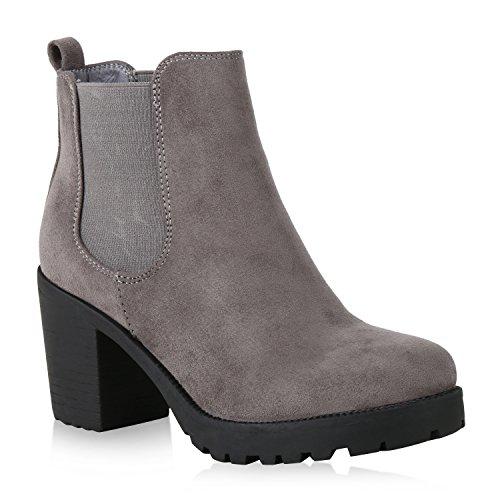 Damen Stiefeletten Chelsea Boots Profilsohle 70's Schuhe 159474 Grau Hellgrau 37 - 70's Fashion Kostüm