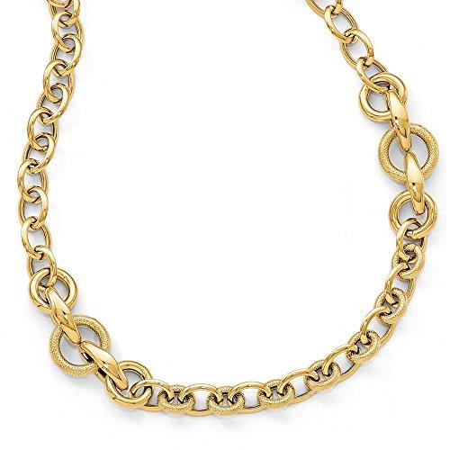 14ct Or jaune poli texturé Fancy Link–Collier–46centimetres