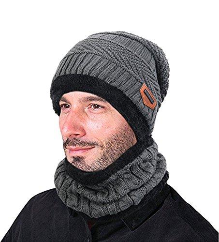 Knit Winter-schal (ZZLAY Winter Dick Beanie Hut Schal Set Slouchy Warm Schnee Knit Schädel Cap)