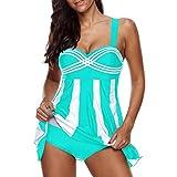 OverDose Damen 2PCS Streifen Drucken Sommer Übergröße Bikinis Tankini Swim Kleid Badeanzug Beachwear Gepolsterte Bademode Frauen Plus Size Beachwear Badeanzüge Bikini Set(Sky Blue,EU36)