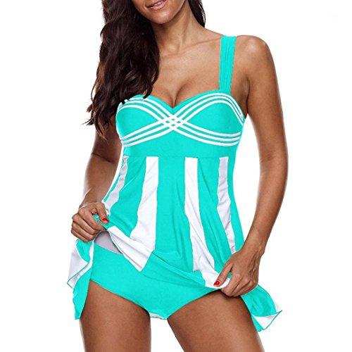 OverDose Damen 2PCS Streifen Drucken Sommer Übergröße Bikinis Tankini Swim Kleid Badeanzug Beachwear gepolsterte Bademode Frauen Plus Size Beachwear Badeanzüge Bikini Set(Sky Blue,EU44) -