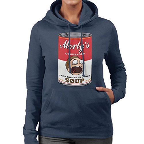 Rick And Mortys Condensed Cronenburg Soup Warhol Women's Hooded Sweatshirt Navy blue