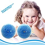 Allucky Magic 3D Maze Ball Puzzle Cube Labyrinth Brain Teaser Puzzle Game Three-dimensional Maze Toy for Kids and Adults Blue