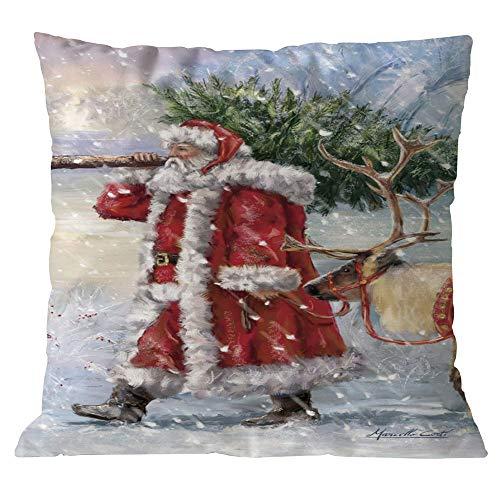 Longra Kissenbezüge 45cm*45cm Baumwolle Leinen Weihnachten Deko Kissenbezug Sofa Bett Auto Home Decor Festival Kissenhülle …