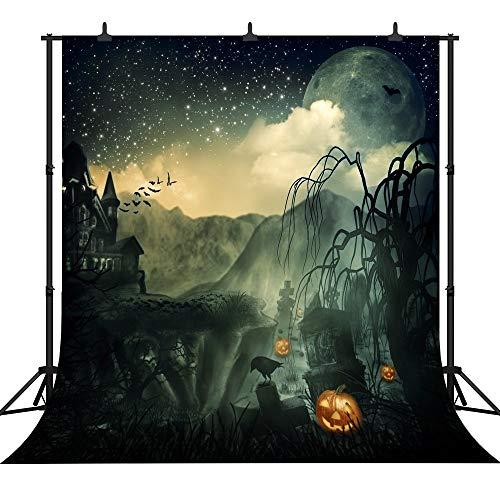 JoneAJ PGT206A Fotohintergrund, 240 x 240 cm, Halloween-Motiv, Kürbis-Laterne, personalisierbar, nahtlos, Vinyl, Fotohintergrund
