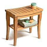 Bambú ducha asiento banco con estante de almacenamiento para asiento, apoyo y relajación, Spa baño banco taburete perfecta para interior o al aire libre uso por bambüsi