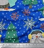 Soimoi Blau Baumwolljersey Stoff Weihnachtsbaum & Pinguin