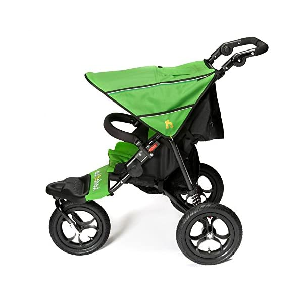 Out n About Nipper Single v4 Stroller Mojito Green Out 'n' About LATEST V4 MODEL WITH AUTO-LOCK FOLD! All-terrain 3-Wheeler pushchair, suitable for use from Birth to 4 years (approx) Multi-position adjustable backrest, including lie flat with 5-Point Safety Harness Height adjustable handles & removable, hinged bumper bar 3