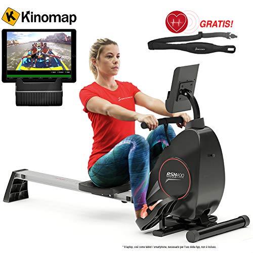 Sportstech Vogatore RSX400 di Ottima qualità Inclusa l'App per Smartphone, Compatibile con la Cintura per pulsazioni, Ripiegabile, Ottimo per l'utilizzo in casa, con magnetoresistenza Regolabile