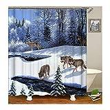 Amody Duschvorhang Stoff Waschbar Wölfe im Schnee Duschvorhang Stoff Antischimmel 180x200CM Fenster Vorhang Bad