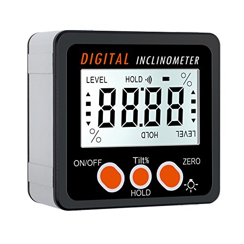 Proster Digitaler LCD Winkelmesser Neigungsmesser Digitaler Winkelsucher mit Batterie Schraubendreher LCD Winkelmessgerät mit Magnetfuß für Holzarbeiten Automobilwartung Industrie usw.