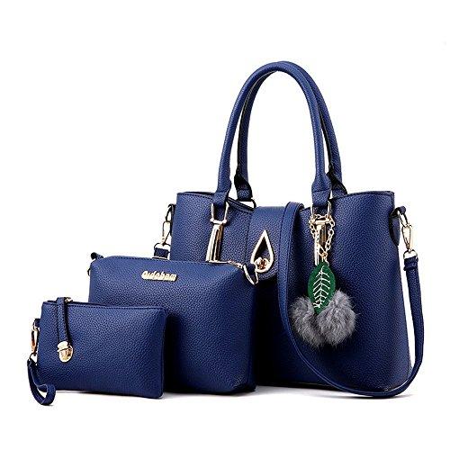 Honeymall Frauen Leder Handtaschen Set 3 teiliges Damen Handtaschenset Schulter Beuteltote Vintage Style Leder Crossbody Tasche Handgelenktasche(Grau) Blau