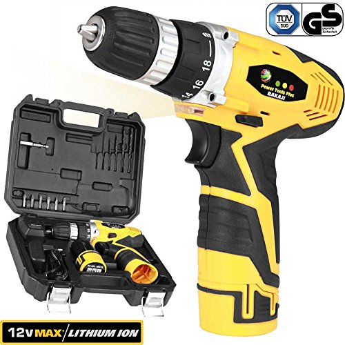 Bakaji Power Tools Trapano Avvitatore a Batteria al LITIO in Valigetta 12V Cordless Drill con LED Light Work, Mandrino Autoserrante, Impugnatura Ergonomica, Set di punte Avvitatura e Perforatura incluso (Trapano Avvitatore 12V + 1 Batteria agli Ioni di Litio)