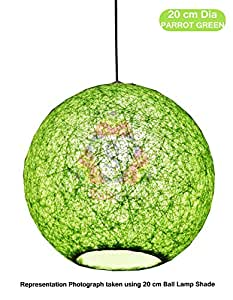 Salebrations 20 cm Dia Parrot Green Hanging Ball Lamp Shade With Yarn And Led Bulb