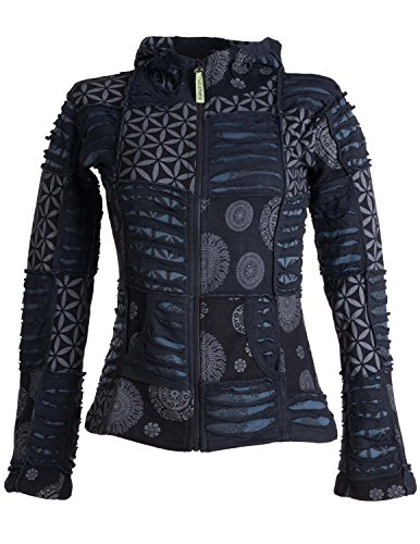Vishes - Alternative Bekleidung - Kurze, leichte Patchworkjacke aus Baumwolle mit Zipfelkapuze und Cutwork schwarz-grau 48