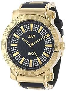 JBW Homme JB-6225-J 562 Pave Cadran Diamant Noir Caoutchouc Bet Montre