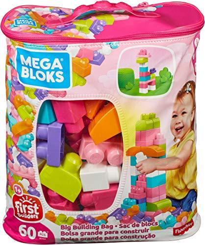 Mega brands- sacca ecologica blocchi da costruzione, giocattolo per bambini 1+ anni, 60 pezzi, dch54