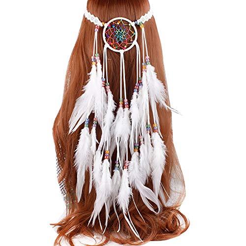 Kostüm Indischen Einfach - Damen Indianer Feder Stirnbänder, Tukistore Hippie Boho Haarband Haarschmuck Indisch Kopfschmuck Quaste Haarband Traumfänger Hippie Indianer Feder Kopfband Haarbänder für Frauen Festival Karneval