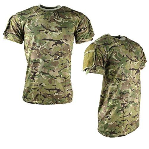 Kombat Tactical T-Shirt BTP Woodland Camo Airsoft Hunting Camping Velcro Panels (Camping-jagd-bekleidung)