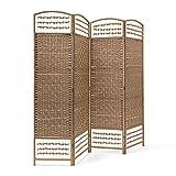 Relaxdays – Biombo/Panel/Divisor/Separador de Habitaciones, 179 x 180 x 2 cm, 4 Paneles, Madera con puntales de bambú, Color Natural