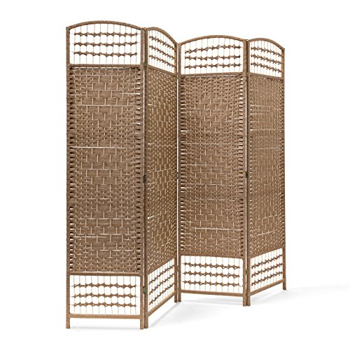 Relaxdays Paravent H x B x T: 179 x 180 x 2 cm faltbarer Raumteiler und Spanische Wand mit Streben aus Bambus als Sichtschutz bestehend aus 4 Elementen als blickdichter Raumtrenner aus Holz, natur