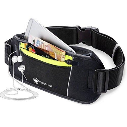 Preisvergleich Produktbild [Sport Hüfttasche] Wanshine Gürteltasche flache Bauchtasche mit Kopfhöreranlass passt alle Handys unter 5, 5 Zoll MUST HAVE Accessoire für Damen und Herren auf Sport und Outdoor Aktivitäten anwenden