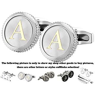 Gemony Men's 2PCS Platinum Plated Cufflinks Initial Letter A-Z(A-Pt/)