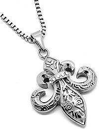 BOBIJOO Jewelry Pendentif Argenté Fleur de Lys Patriote templier Royaliste  Acier Strass + Chaîne f586fe30995