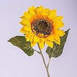 artplants Set 6 x Künstliche Sonnenblume, gelb - orange, Ø 13 cm, 63 cm - 6 Stück Deko Blumen/gelbe Kunstblume