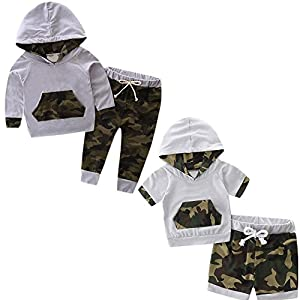 For 0-2 Years old Babies' Outfits Set, Manadlian Toddler Kid Baby Boy Set Clothes Hooded Tracksuit Long and Short Top +Pants Camouflage Outfits