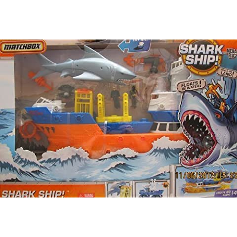 Matchbox 'WATER FLOATING' SHARK SHIP! MEGA RIG Build & Create 40 SHIPS w 28 WATER Friendly PIECES, 2 Matchbox FIGURES, CHOMPING SHARK & More! (2010) by