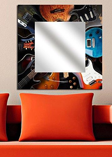 LaModaHome Home Dekorative Plexiglas-Spiegel 100% MDF gerahmtes Wandbild Art Platte (50,8x 50,8cm Total) Gitarre Musikinstrument Lied Antik Nostalgie