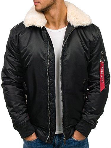 BOLF – Veste d'hiver – Veste aviateur – Zip – JBOYZ 1026 – Homme – XXL Noir [4D4]