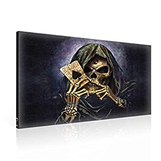 Ready to Hang Canvas Wall Art - Gothic Death Grim Reaper with Ace of Spades Card Gamble - XXL - 39
