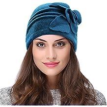 Vbiger Caliente Sombrero para Invierno Gorro de Lana con Flor de Decoración para Mujer