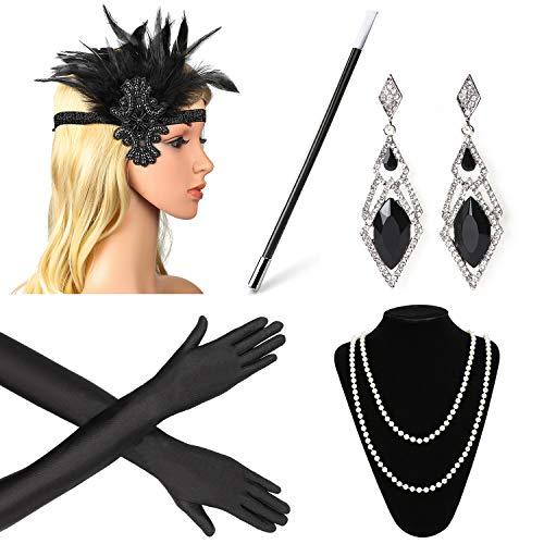Beelittle 1920er Jahre Zubehör Set Flapper Stirnband, Halskette, Handschuhe, Zigarettenspitze Great Gatsby Zubehör für Frauen (S)