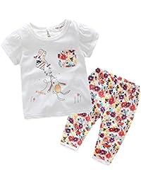 Longra Bébé Fille Bébé Manche Courte T-shirt + Floral Un pantalon Vêtements Set