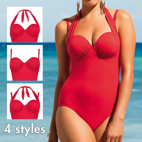 Rosa Faia Damen Schalen Einteiler Badeanzug Coco Suit Rot (fragola)