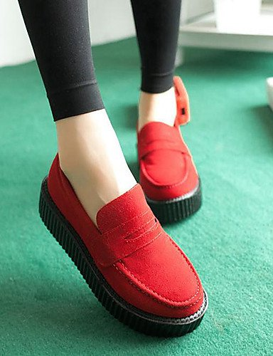 ZQ Scarpe Donna - Stringate - Tempo libero / Casual - Ballerina / Innovativo - Plateau - Pelliccia - Nero / Rosso , red-us8 / eu39 / uk6 / cn39 , red-us8 / eu39 / uk6 / cn39 black-us5.5 / eu36 / uk3.5 / cn35