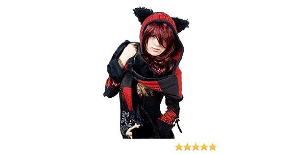 Bonnet écharpe noire et rouge rayé avec oreille de chat foulard LS-002   Amazon.fr  Vêtements et accessoires 11abf7efdb5