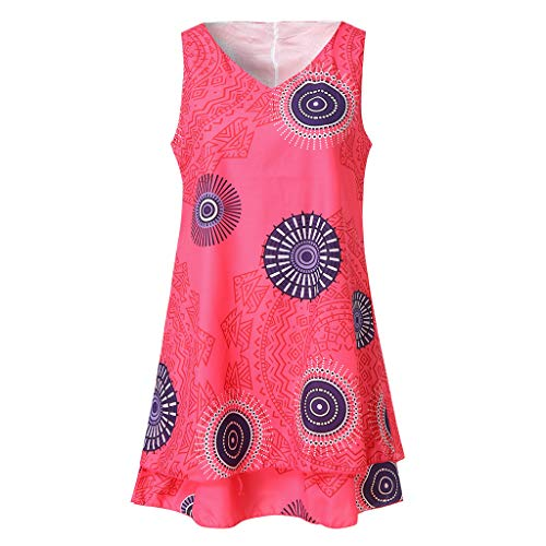 Kaister Damen Plus Size Print Midi-Kleid Lose Shift Ärmellose Tankweste Sun Dress -