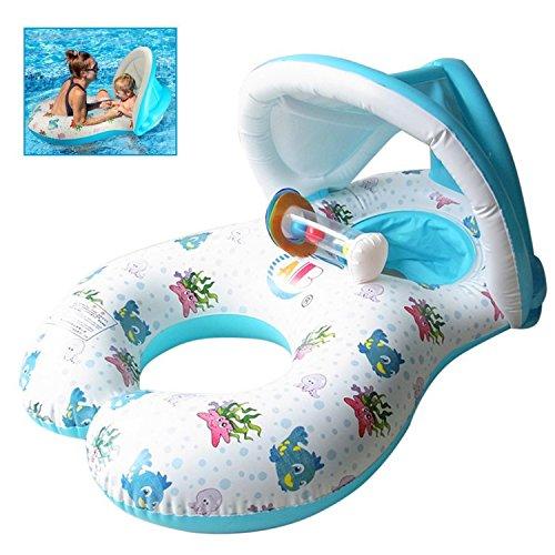 Nuoto Anello Bambini,Baby Swim Pool Float Gonfiabile Piscina Sedile, Swimming Ring con Parasole Sicuro della Maniglia Doppia Sede Barca Gonfiabile per Mamma e Bambino 0-3 Anni