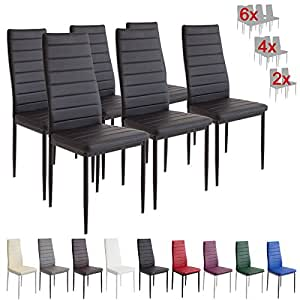 Albatros 2698 MILANO Dining Chairs Set Of 6 Black Kitchen A