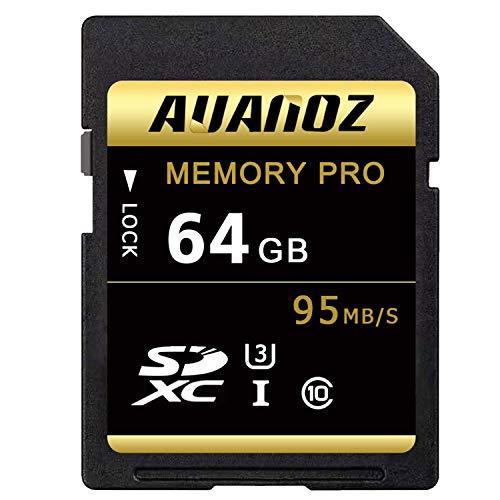 Auanoz TF-Speicherkarte 64GB, Ultra Klasse 10 UHS-I High Speed Speicherkarte Geeignet für Kameras und CamcorderU3,Bis zu 95 MB/s,Klasse 10.(Schwarz/Gold-64gb)