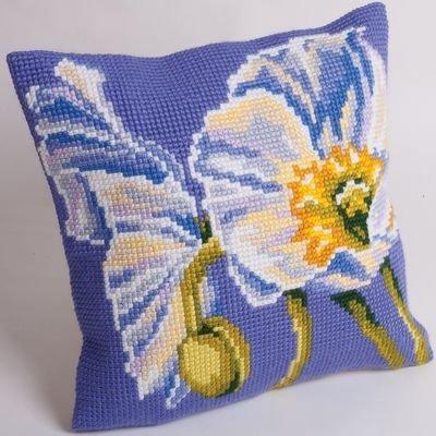 Collection d'Art CD5092 40 x 40 cm Snow Poppy Kit Point de Croix Coussin, Coton, Multicolore, 20 x 4,7 x 11,6 cm